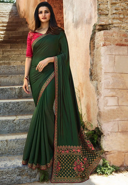 Classy Green Colored Silk Embroidered Designer Saree