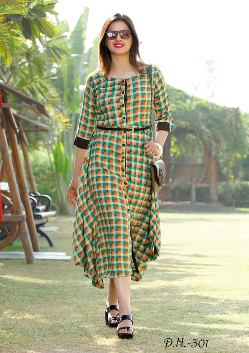 Lavishing Multicolored Reyon Cotton Printed Designer Kurtis With Belt