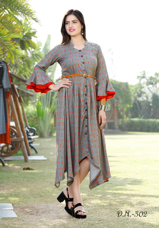 Attractive Multicolored Reyon Cotton Printed Designer Kurtis