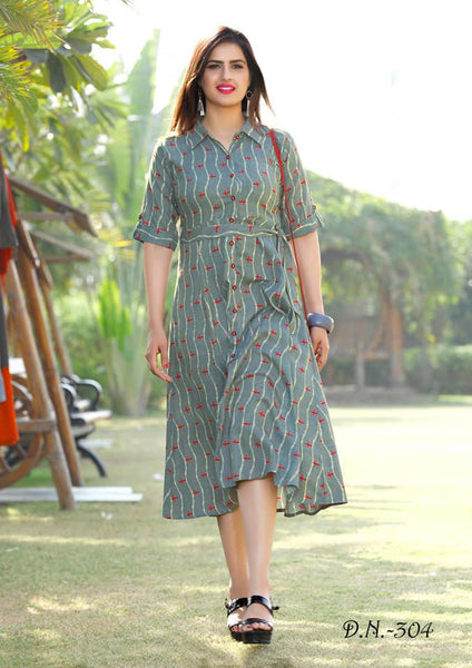 Refreshing Grey Colored Cotton Printed Designer Kurtis With Belt
