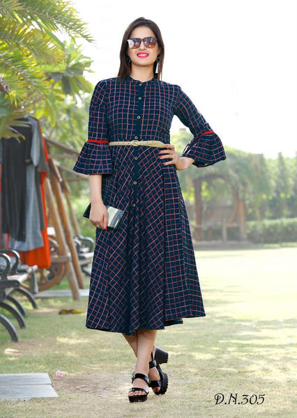 Charming Neavy Blue Colored Cotton Printed Designer Kurti With Belt