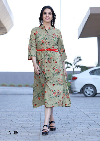 Unique Multicolored Cotton Printed Designer Kurti With Belt