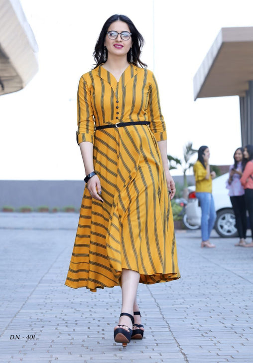 Classy Yellow Colored Cotton Printed Designer Kurtis With Belt