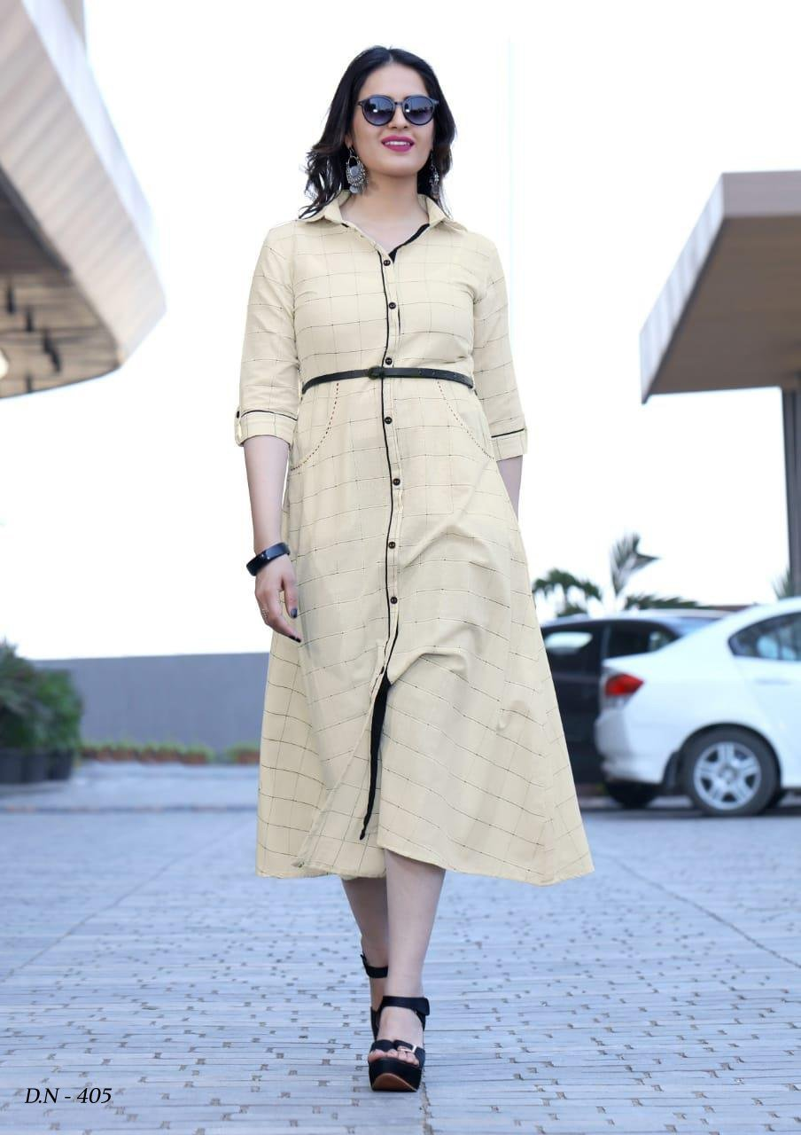 Charming Cream Colored Cotton Printed Designer Kurties With Belt