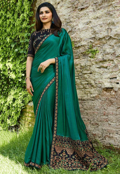 Sizzling Rama Colored Silk Embroidered Designer Saree