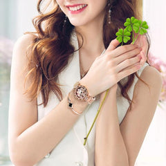 ROSE GOLD Luxury Lucky Clover Rotating Watch