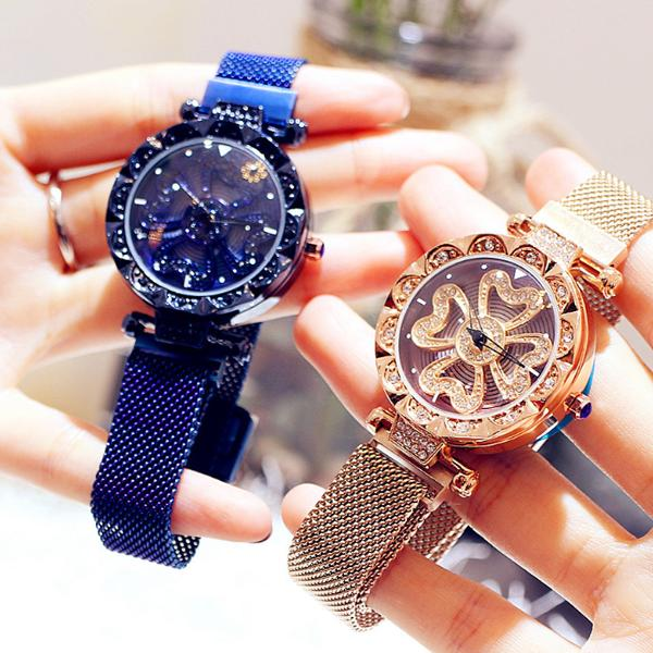BLUE Luxury Lucky Clover Rotating Watch