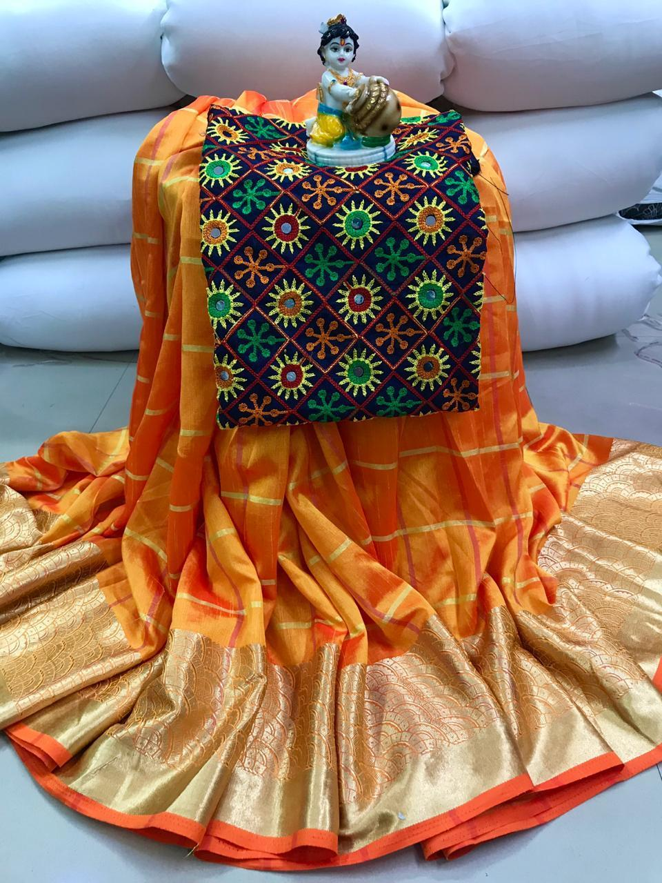 Stylish Yellow Colored Sana Silk Embroidered Designer Saree