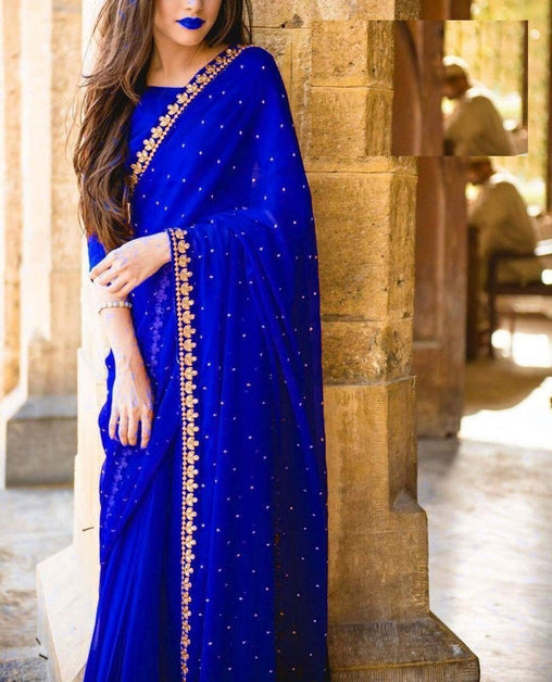 Unique Blue Colored Designer Embroidered Georgette Saree