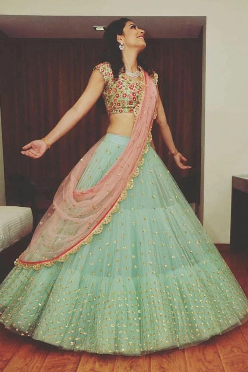 Light Green Colored Net Embroidered Designer Bridal Lehenga Choli With Dupattas