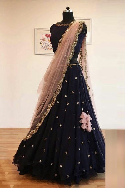 Black Silk Embroidered Designer Lehenga Choli With Dupatta