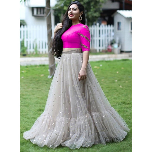 Grey Colored Net Moti Work Designer Lehenga Choli With Dupatta