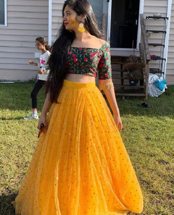 Yellow And Green Colored Georgette Embroidered Lehenga Choli