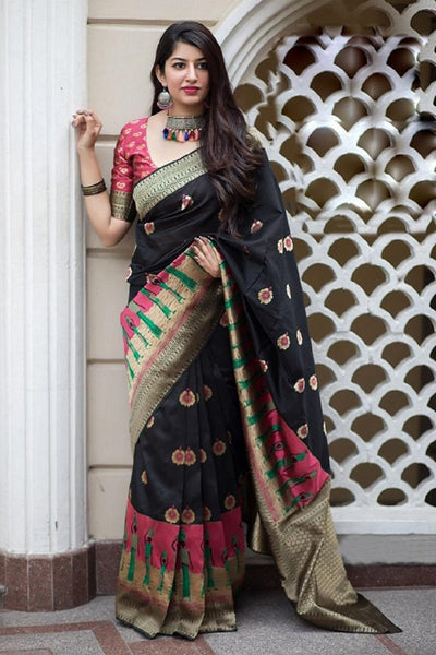 Charming Black Colored Soft Silk Designer Partywear Saree
