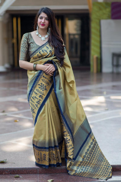 Charming Cream Colored Soft Silk Designer Party Wear Saree