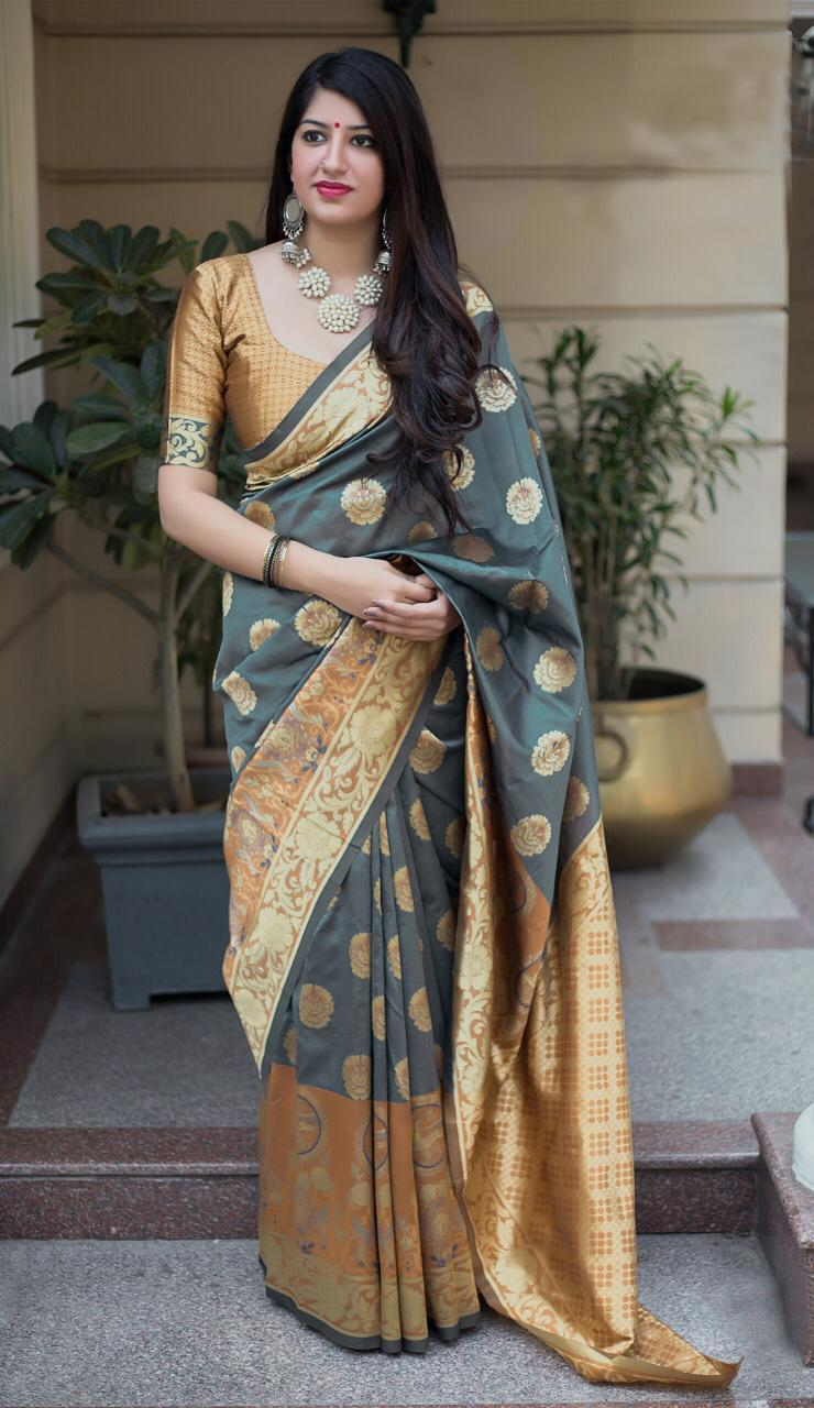 Adorable Grey Colored Soft Silk Designer Partywear Saree