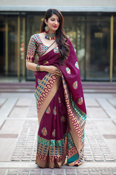 Glorious Rani Colored Soft Silk Designer Partywear Saree