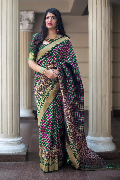 Elegant Multicolored Soft Silk Designer Wedding Wear Saree
