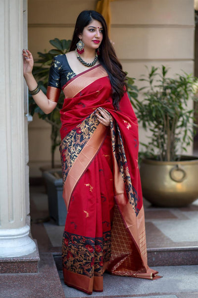 Stunning Red Colored Soft Silk Designer Wedding Wear Saree