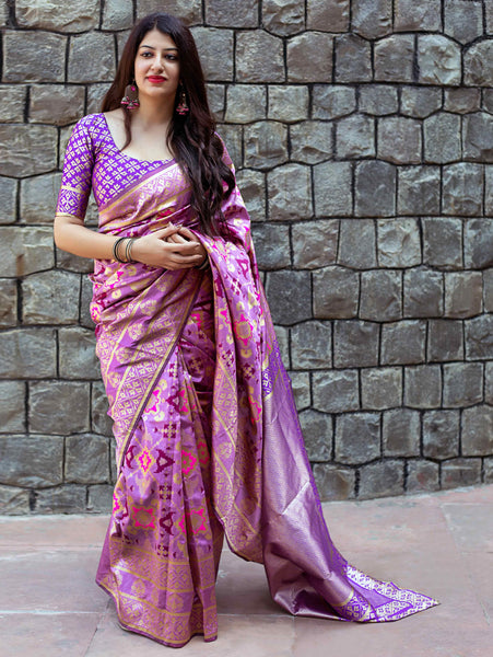 Desirable Purple Colored Soft Silk Designer Wedding Wear Saree