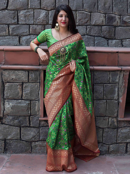 Impressive Green Colored Soft Silk Designer Partywear Saree