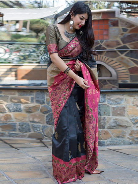 Desiring Black Colored Soft Silk Desgner Partywear Saree