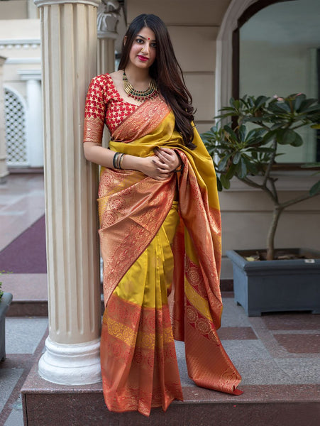 Pretty Yellow Colored Soft Silk Designer Festive Wear Saree