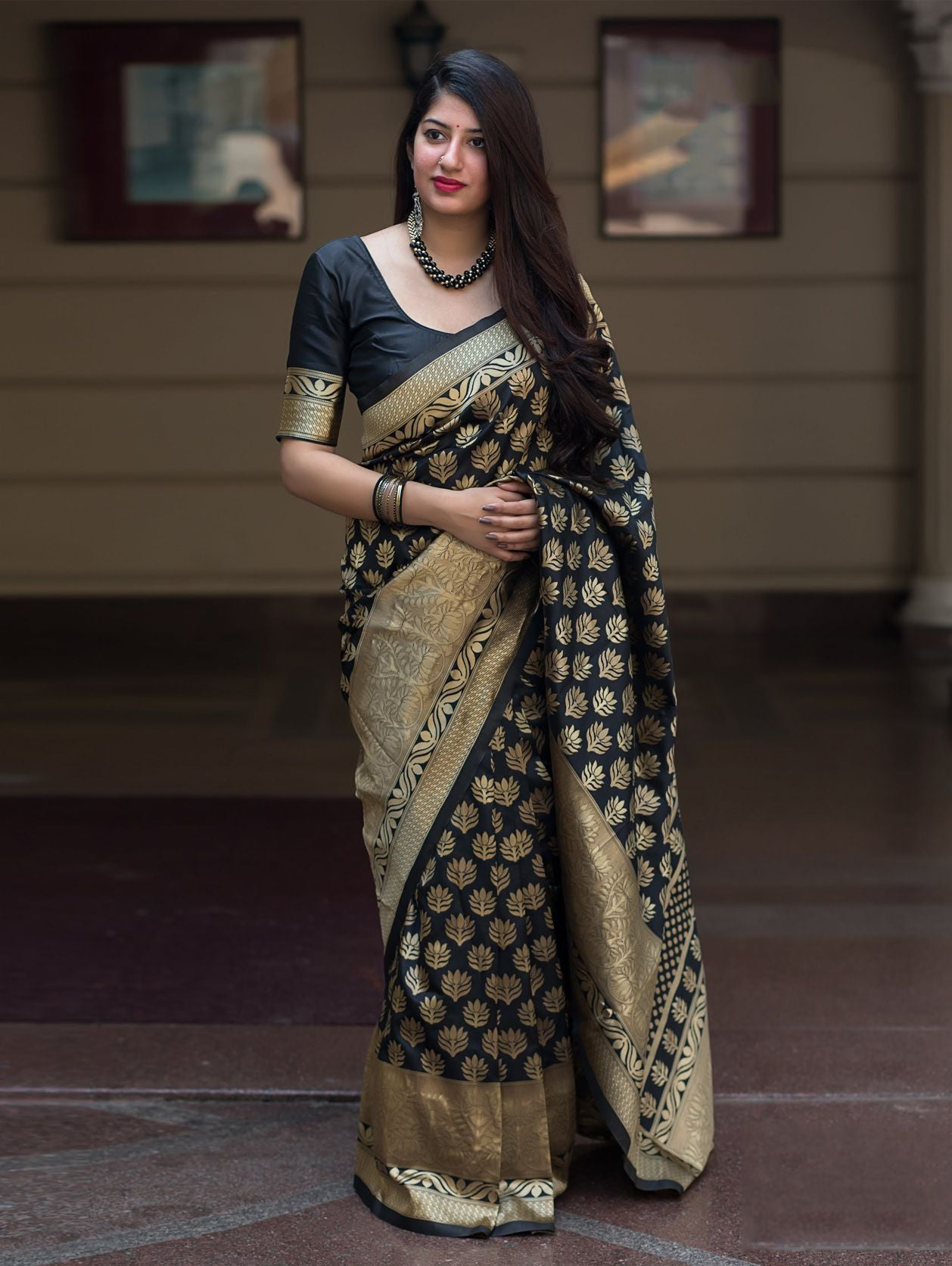 Amazing Black Colored Soft Silk Designer Festive Wear Saree