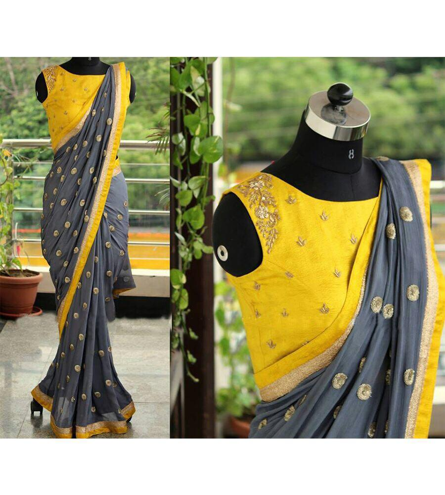 Flattering Grey Colored Embroidered Designer Georgette Saree
