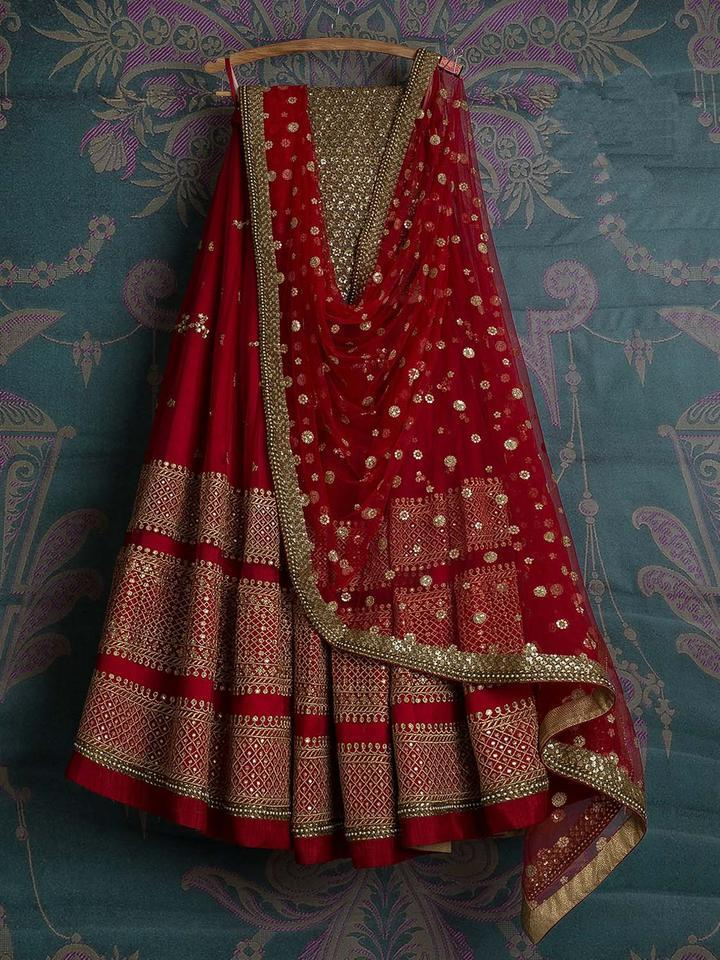 Eye-Catching Red Colored Georgette Embroidered Designer Lehenga Choli
