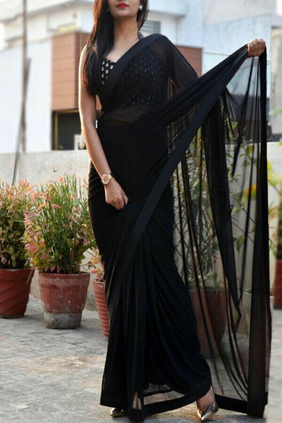 Black Colored Georgette Plain Designer Saree With Blouse