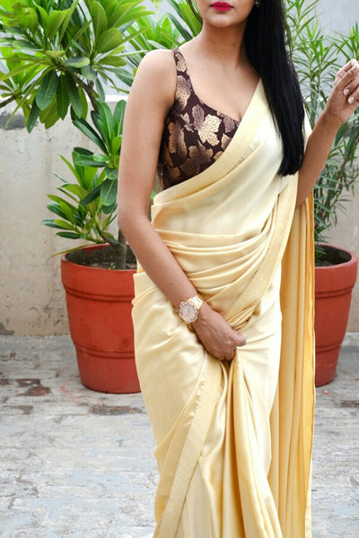 Cream Colored Satin Silk Designer Saree With Jacquard Blouse