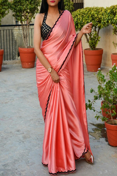 Gajari Colored Satin Silk Plain Designer Saree With Blouse
