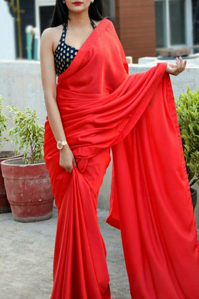 Red Colored Georgette Designer Saree With Jacquard Blouse