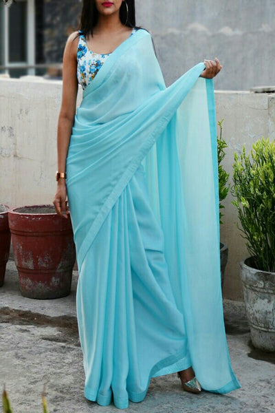 Sky Colored Georgette Designer Saree With Printed Blouse