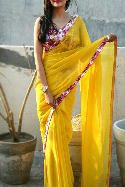 Yellow Colored Georgette Designer Saree With Printed Blouse