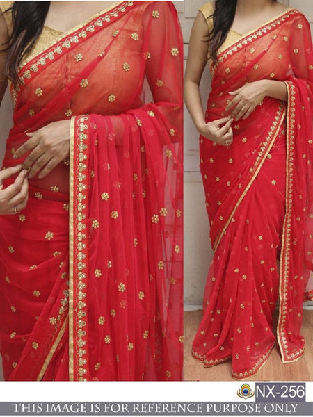 Blooming Red Colored Embroidered Designer Georgette Saree