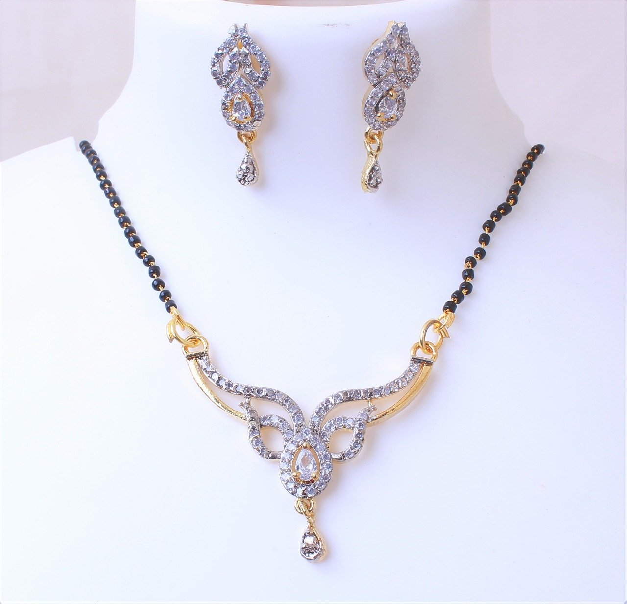 Stylish Mangalsutra Earrings Set For Women
