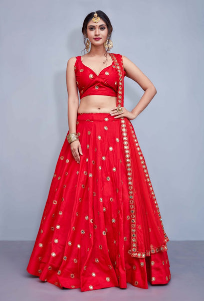 Red Colored Silk Embroidered Mirror Work Lehenga Choli