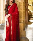 Unique Red Colored Designer Embroidered Georgette Saree