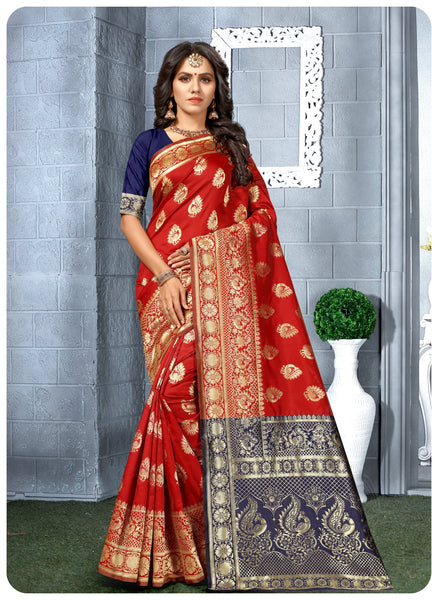 Zuke Cart Red Colored Jacquard Silk Hand Wooven Designer Saree