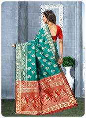 Zuke Cart Rama Colored Jacquard Silk Designer Hand Wooven Saree