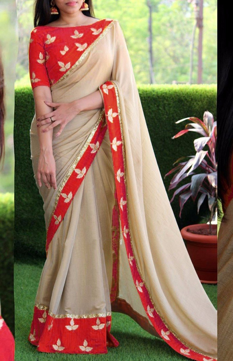 Elegent Cream And Red Colored Embroidered Georgette Saree