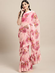 Mulicolored Georgette Printed Designer Ruffle Saree