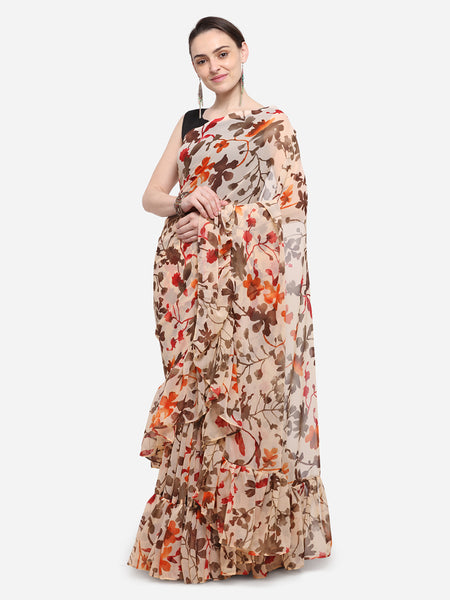 Multicolored Georgette Printed Designer Ruffle Saree