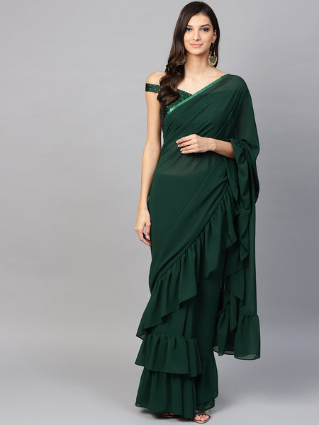Bottole Green Georgette Designer Ruffle Saree