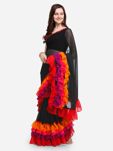 Multicolored Georgette Designer Ruffle Saree