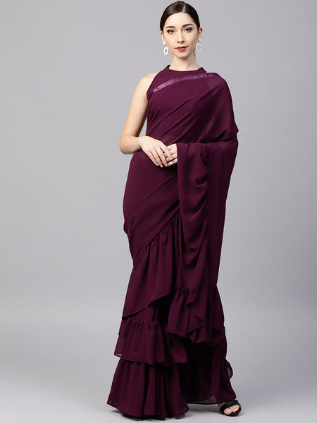 Wine Colored Georgette Designer Ruffle Saree