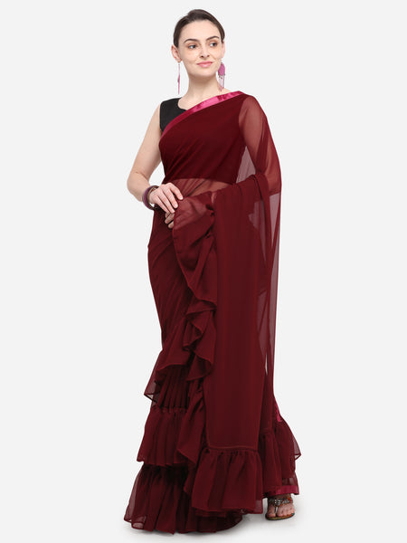 Maroon Colored Georgette Designer Ruffle Saree