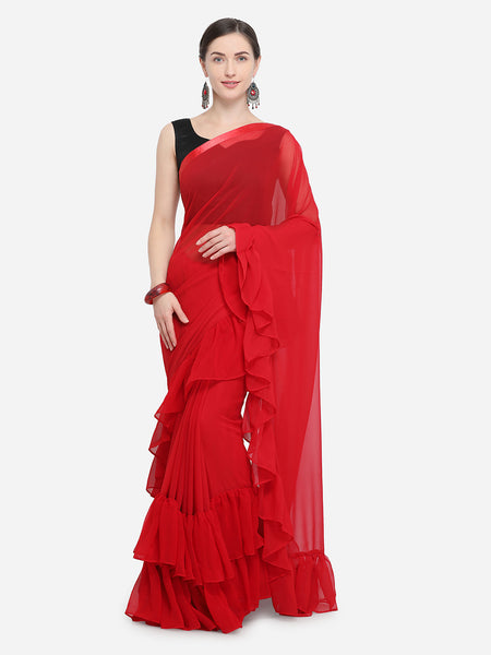 Red Colored Georgette Designer Ruffle Saree